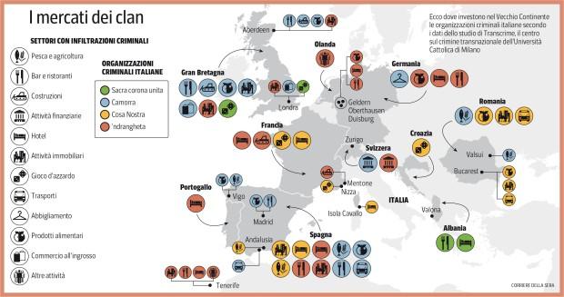 Mappa dei Clan Mafiosi in Europa